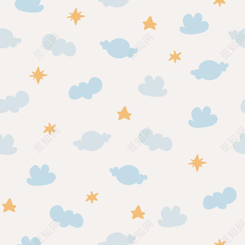112可爱云朵星星简约背景
