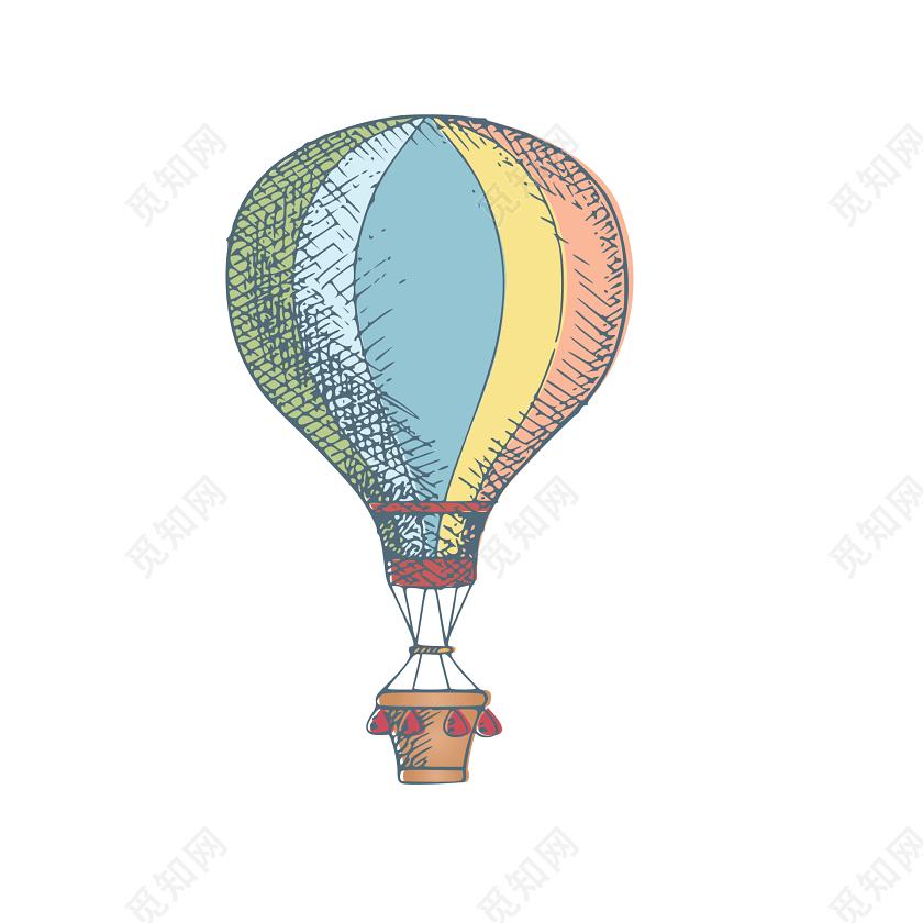 彩色卡通涂鸦热气球简笔画