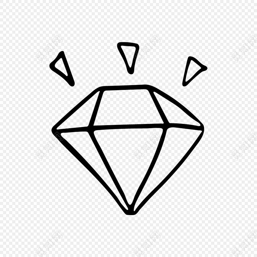 发光钻石简笔画矢量素材免费下载_png素材_觅知网