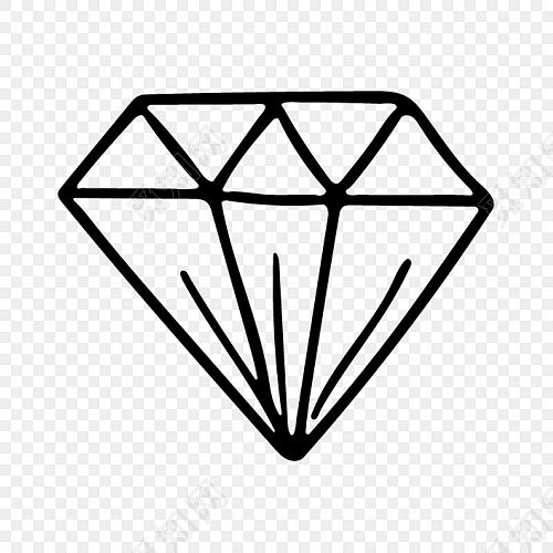 手绘简单钻石水晶简笔画矢量素材