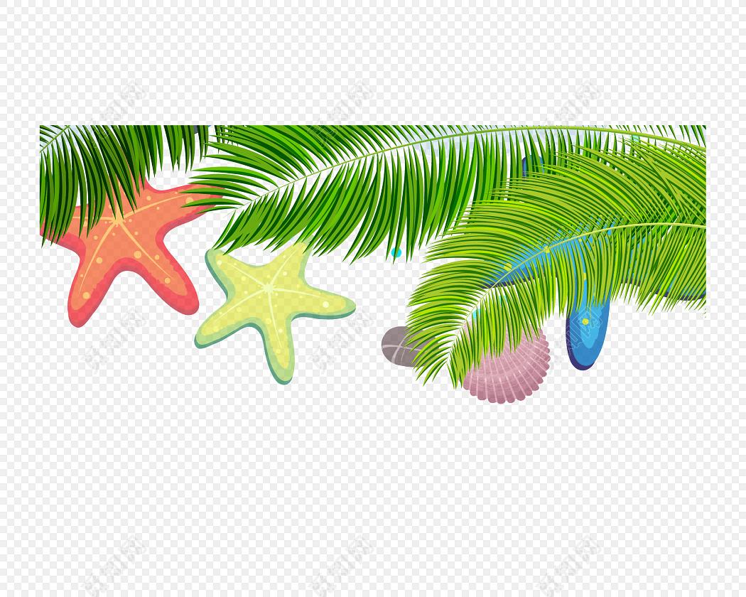 绿色卡通度假树叶边框