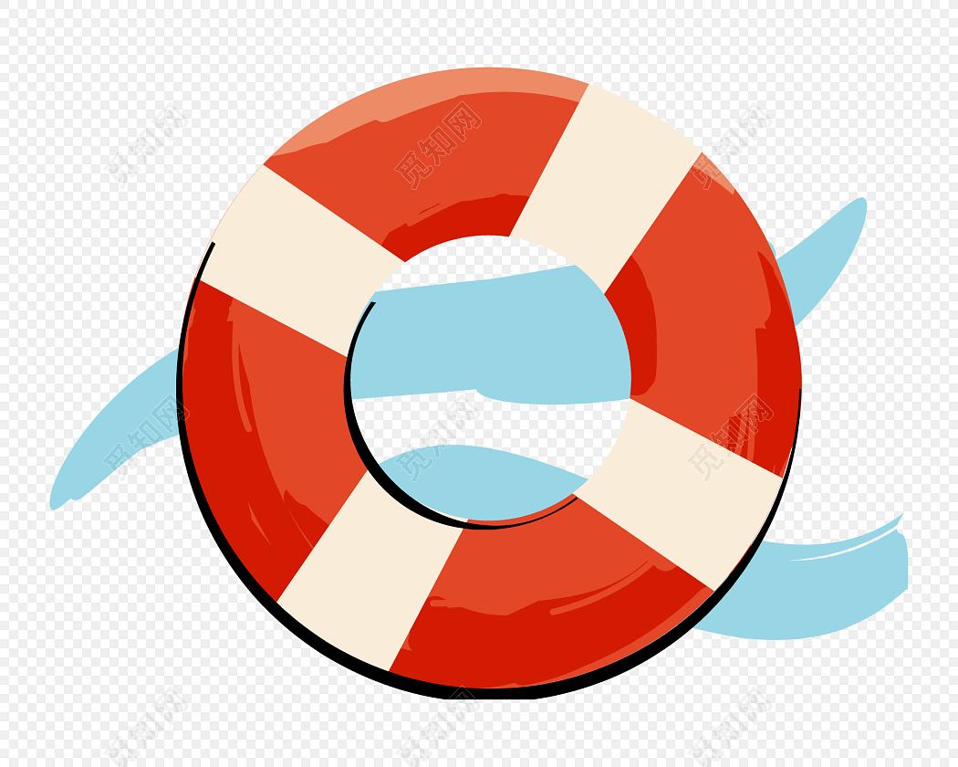 手绘卡通游泳圈素材