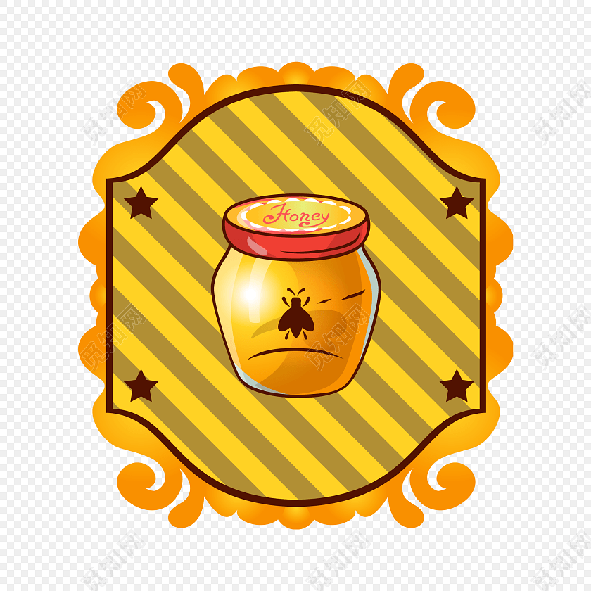 手绘卡通蜂蜜标签素材