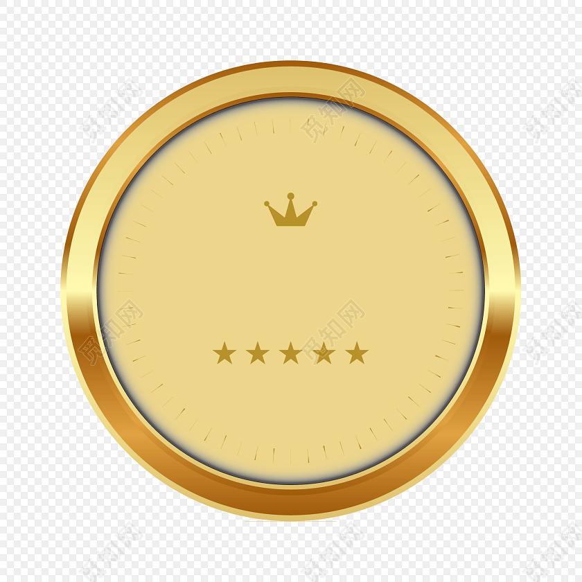 金属简约五星皇冠组合logo圆形标贴