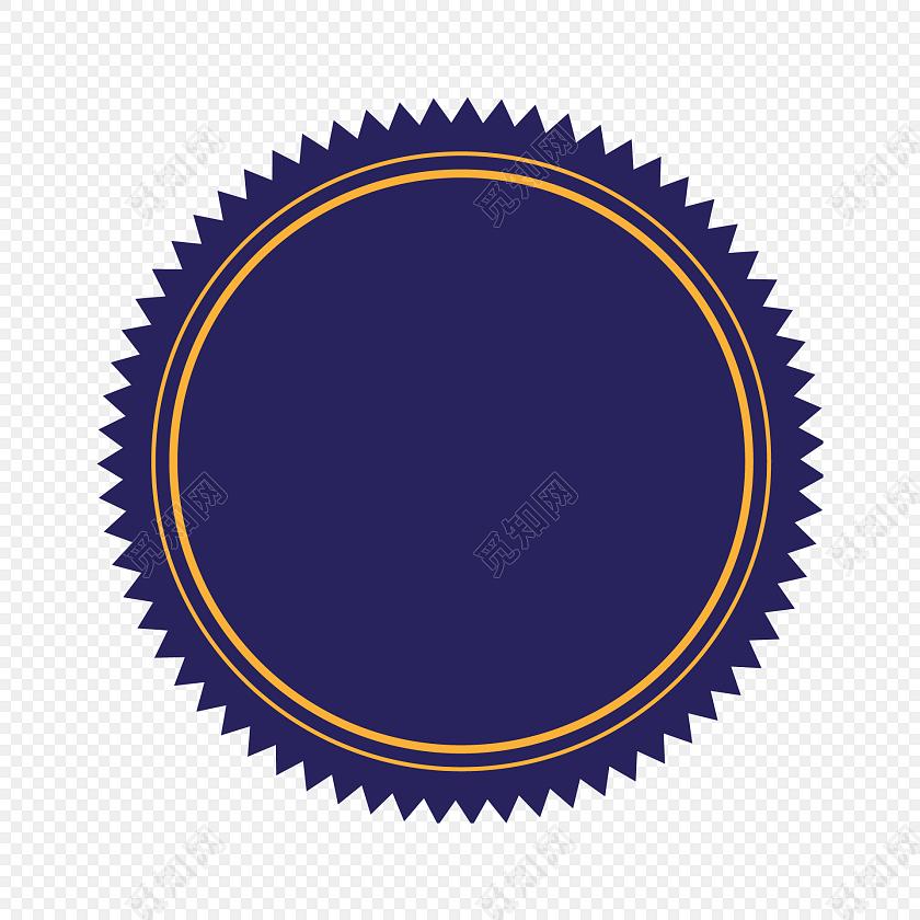深蓝色小齿轮边圆形标签矢量素材