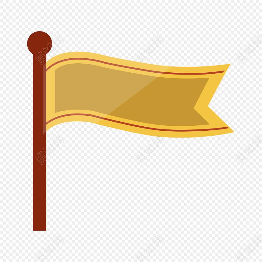 彩色卡通小旗插画装饰素材