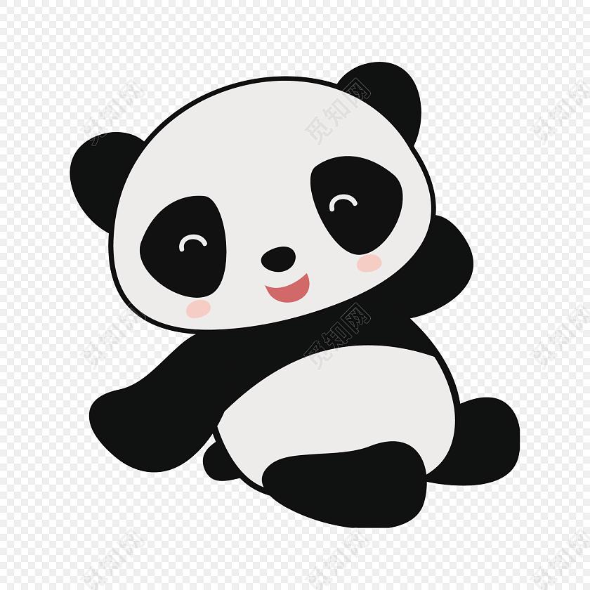 黑白卡通熊猫装饰图案图片