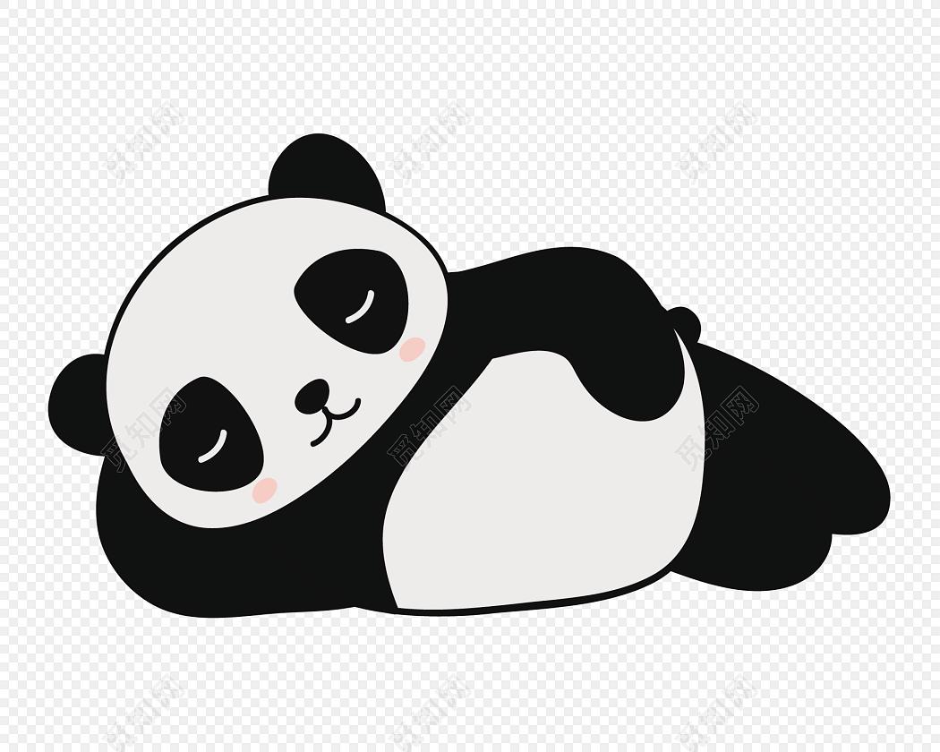 黑白卡通熊猫装饰图案