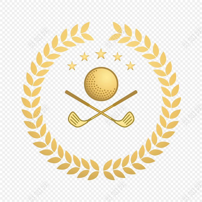 高尔夫金色麦穗边框标签