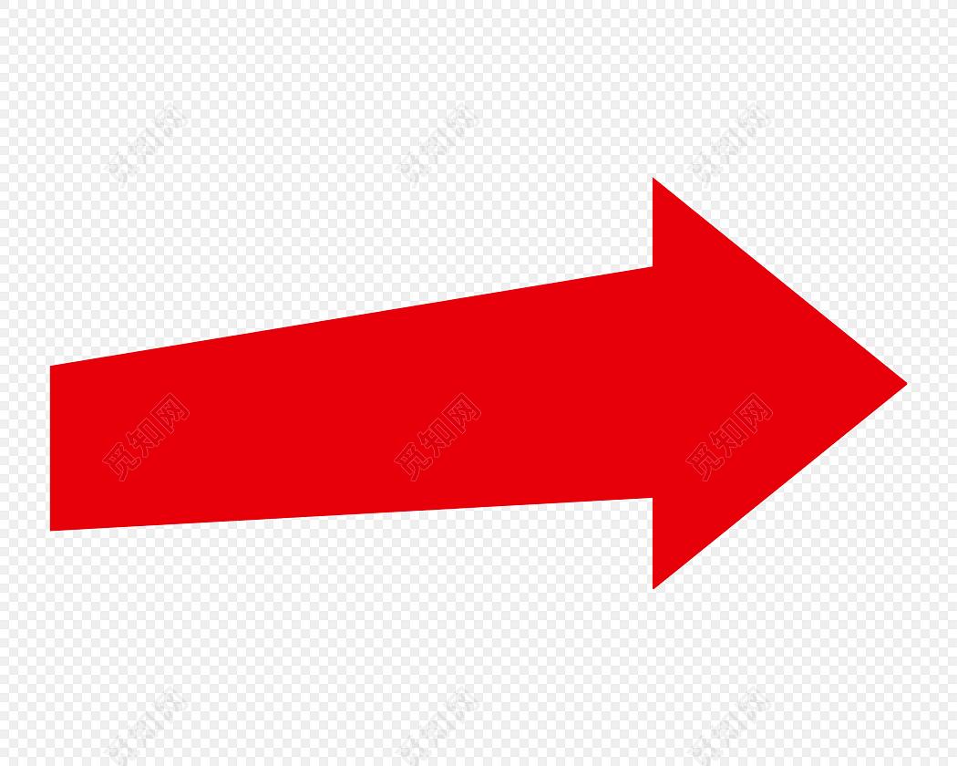 红色卡通几何箭头扁平标签素材图片