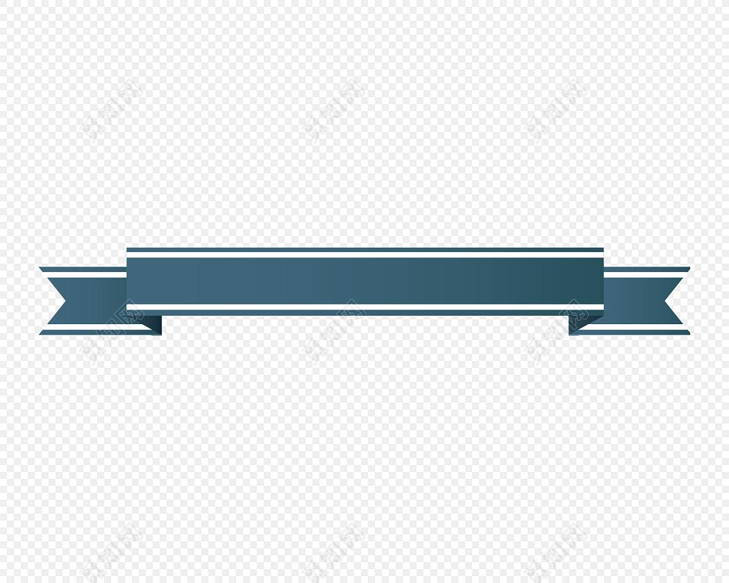 蓝色商务简约标题框免抠素材
