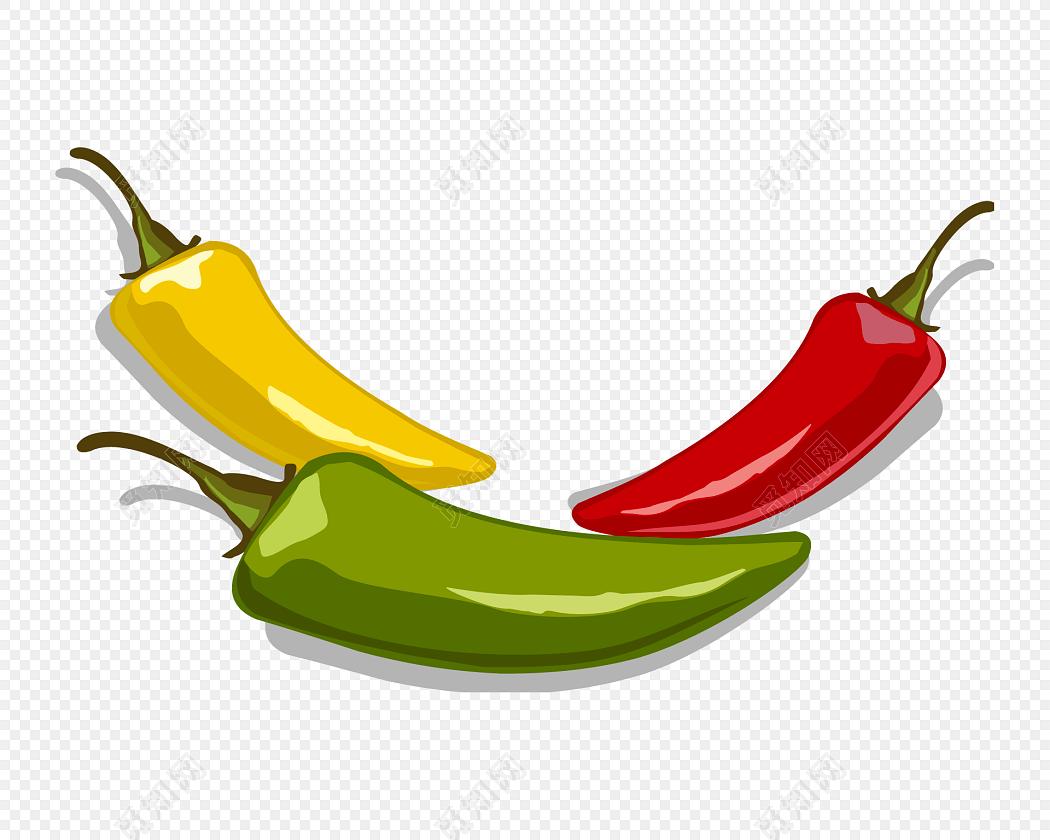 彩色辣椒手绘素材