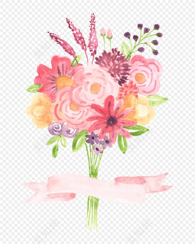 清新鲜花花束设计教师节素材
