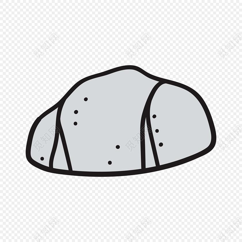 灰色简约石头简笔画素材图片