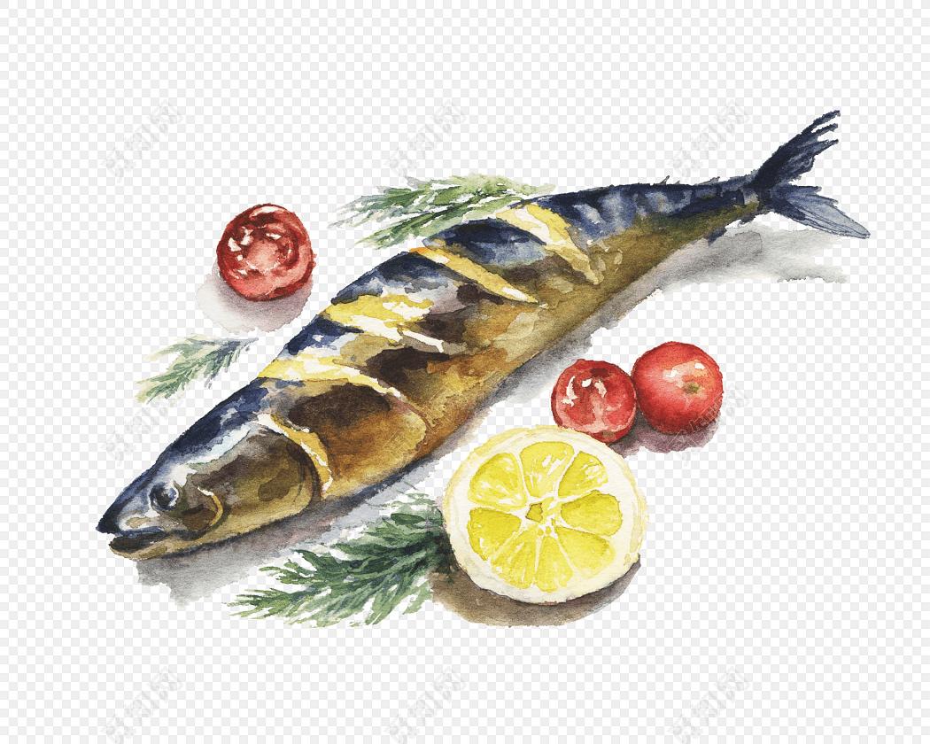 手绘水彩食物烤鱼美食素材