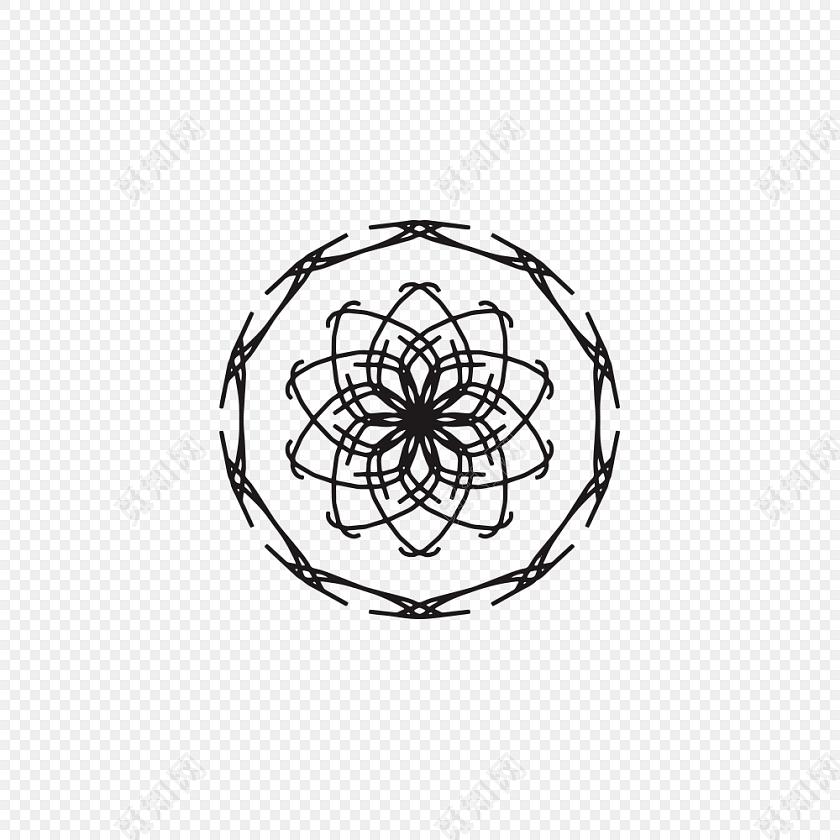 手绘卡通圆形花纹素材