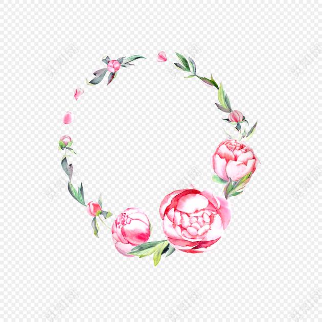 水彩手绘花卉边框