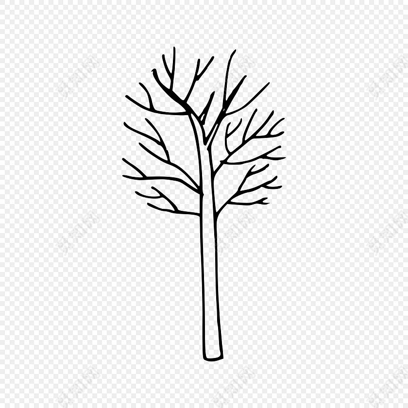 简笔画素描黑色线条树木植物素材