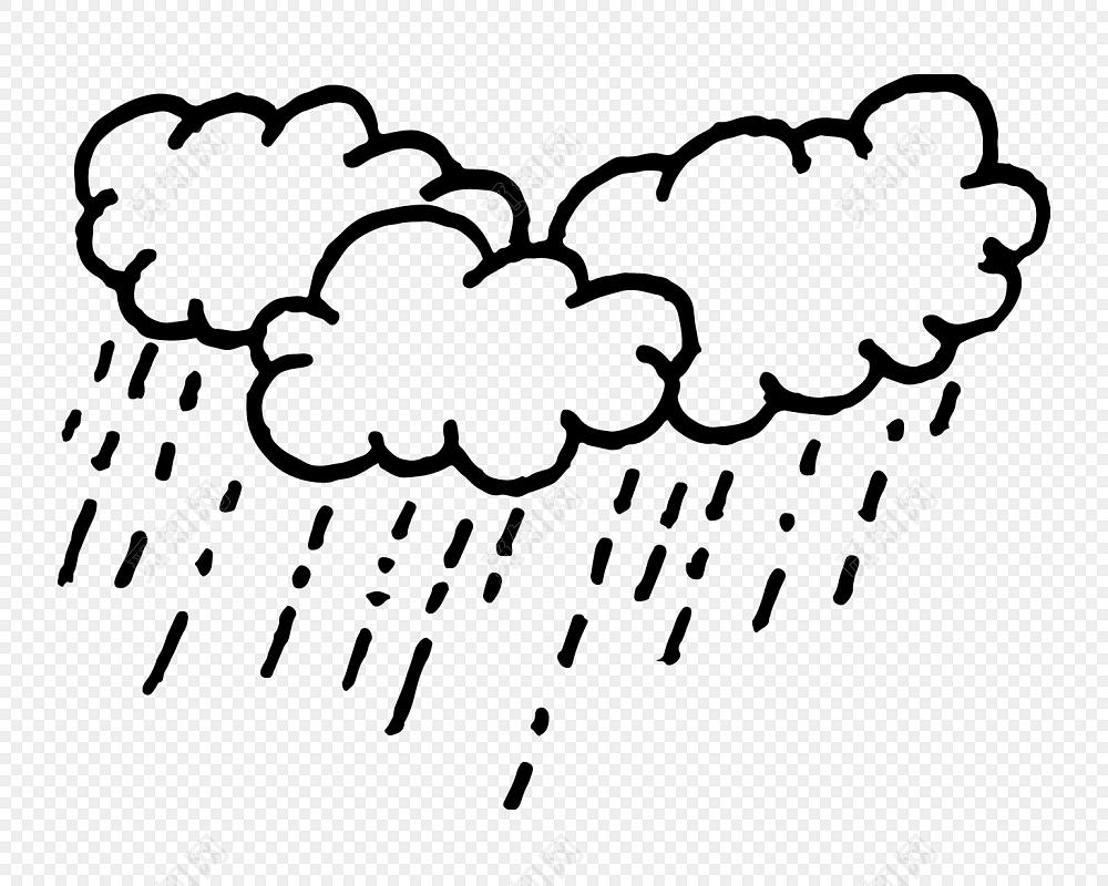 卡通云朵下雨简笔画素材