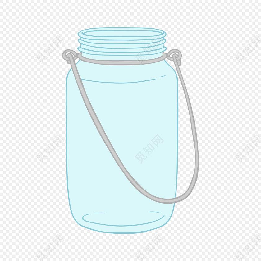 彩色日系手绘小清新餐具玻璃瓶插画