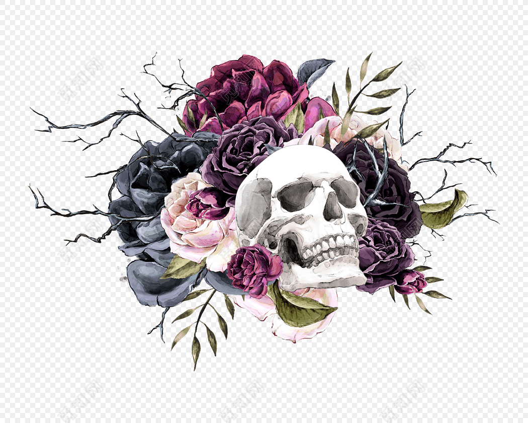 彩色手绘水彩骷髅头矢量素材