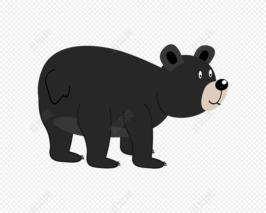 胖黑熊卡通图片