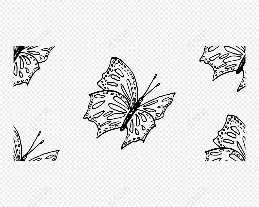 线条蝴蝶免抠素材