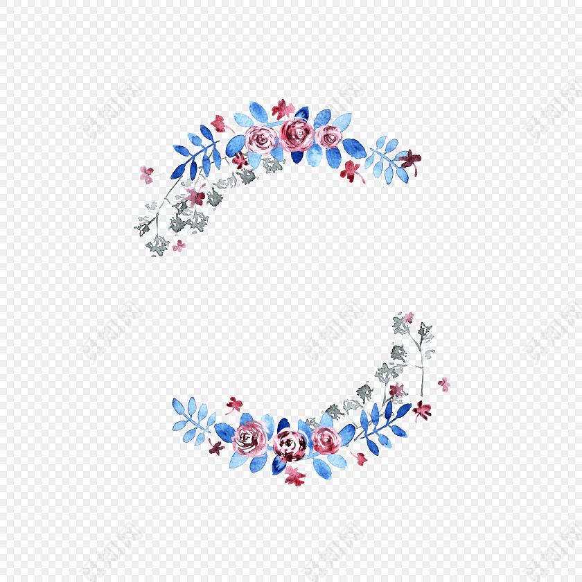 手绘水彩花枝设计素材