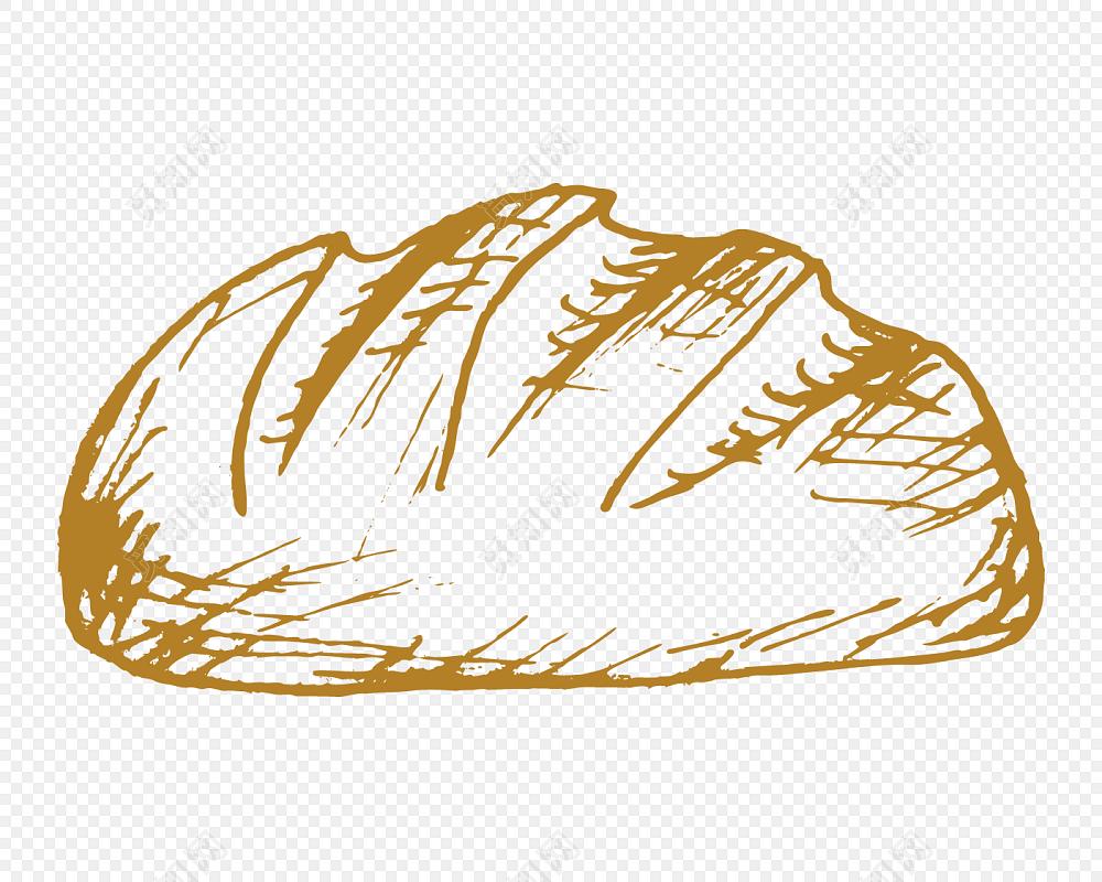 彩色手绘面包插画素材