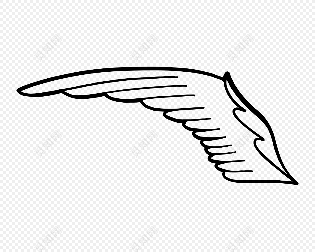 手绘黑白单翅膀素材下载