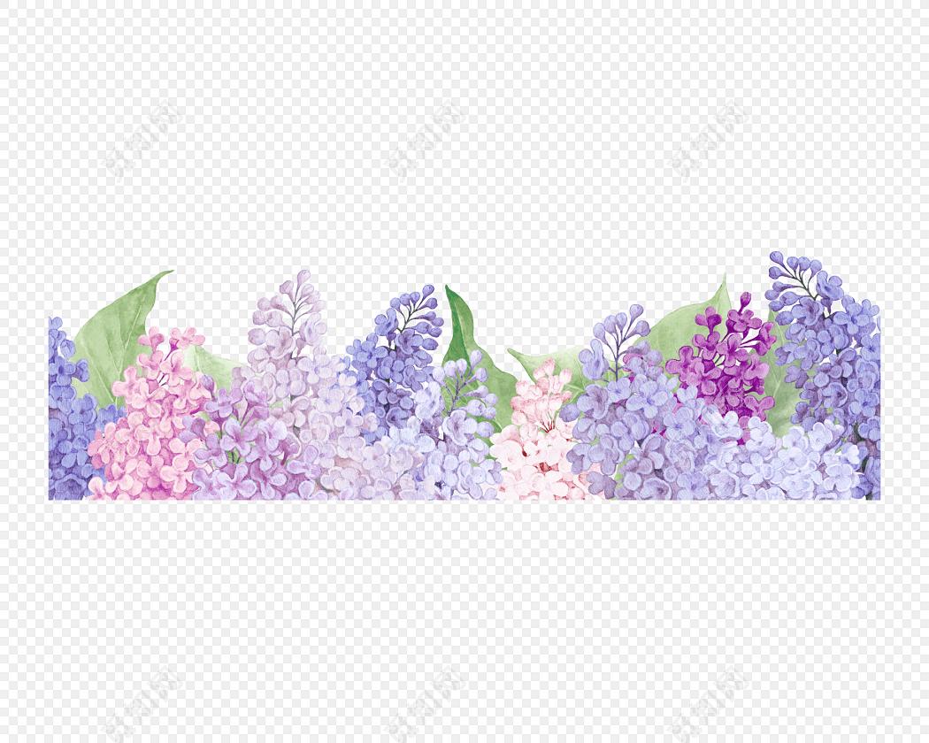 彩色花簇花团底边外框素材