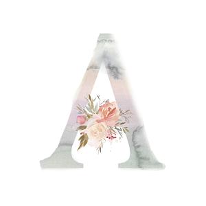 水彩畫字母A裝飾花朵素材