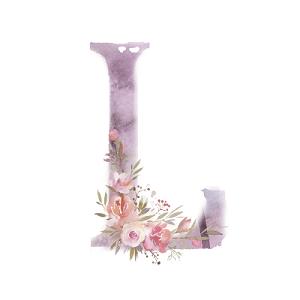水彩畫字母L裝飾花朵素材