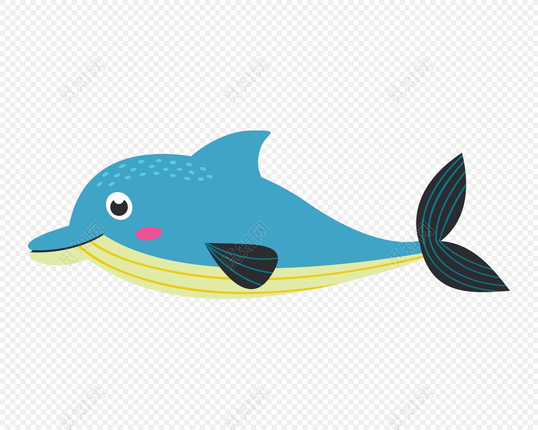 蓝色鲸鱼手绘素材