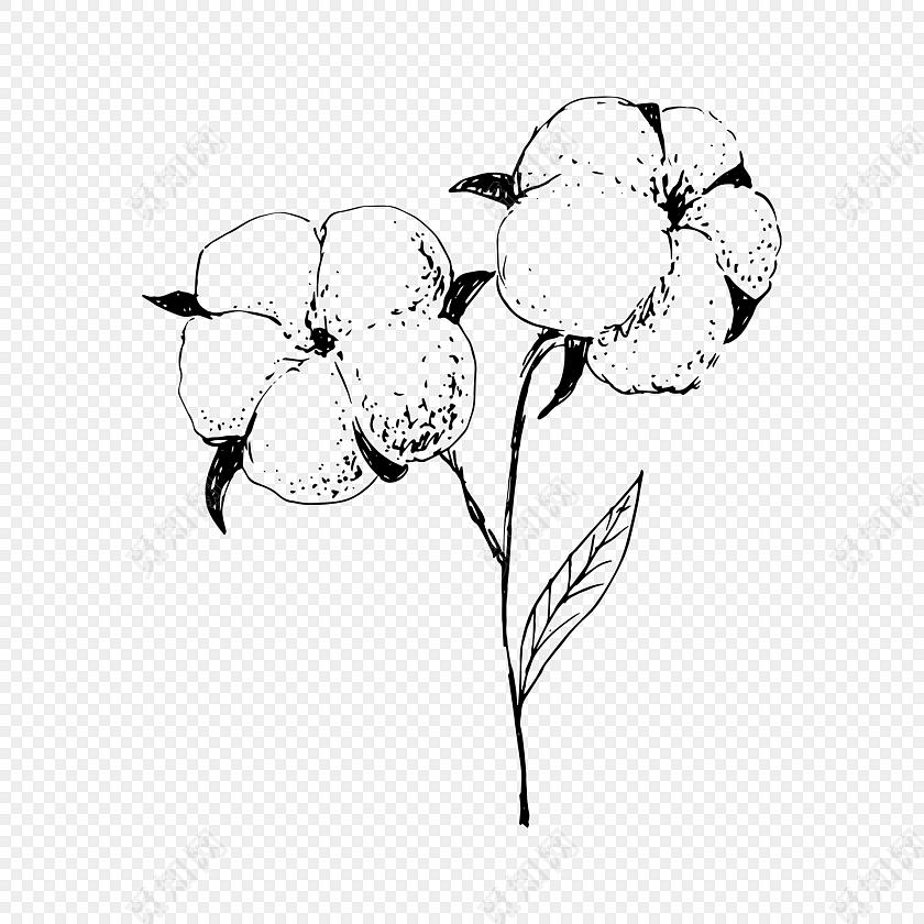 手绘卡通装饰花瓣棉花花草装饰海报设计