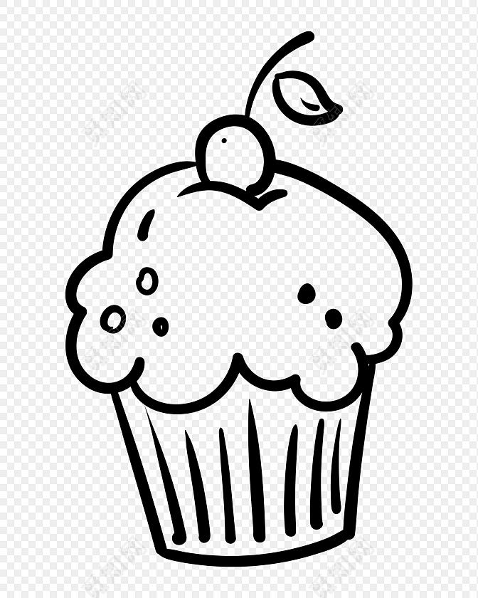 黑色杯子蛋糕简笔画素材免费下载_png素材_觅知网图片