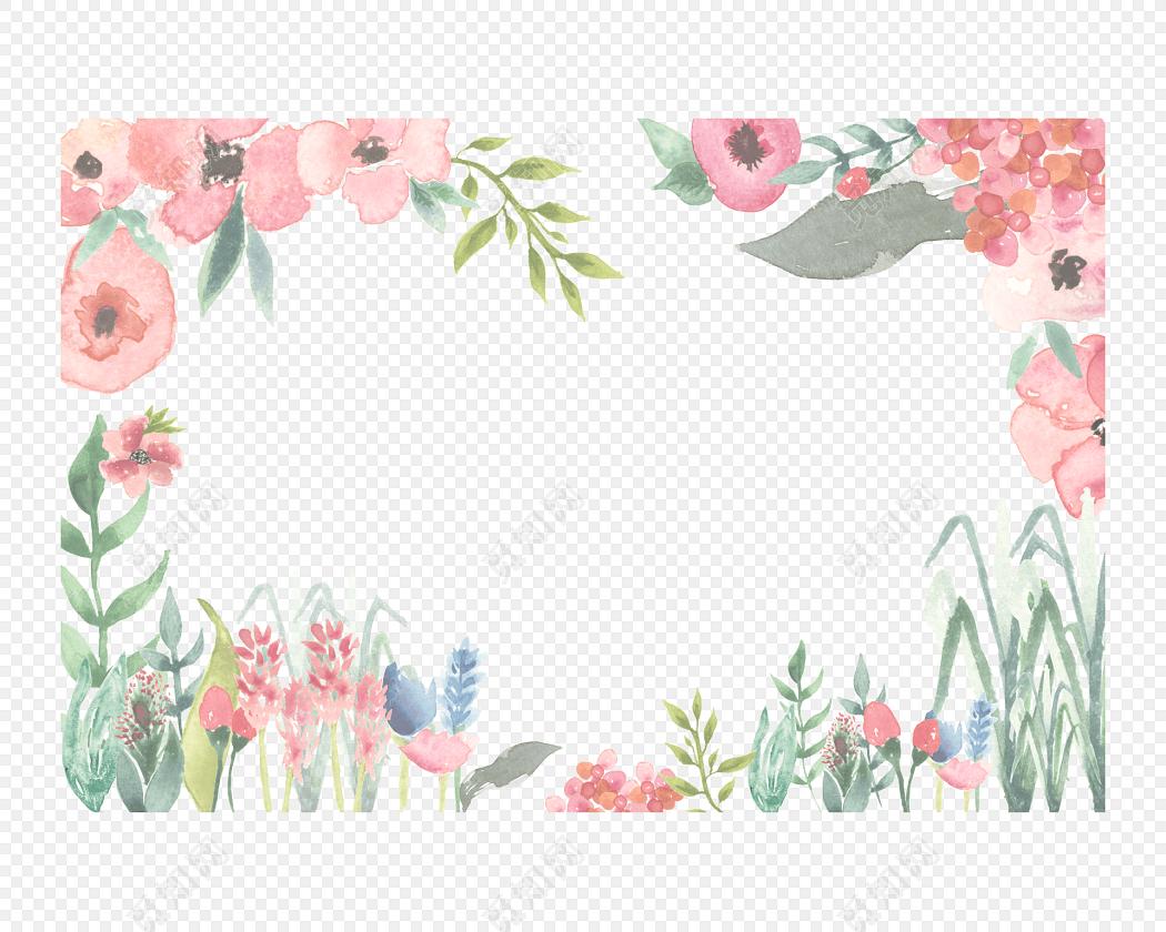 手绘卡通装饰花瓣花草花边边框海报设计