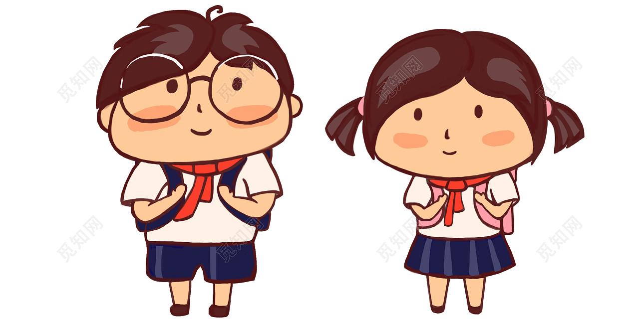 开学季小学生手绘可爱卡通人物插画psd素材
