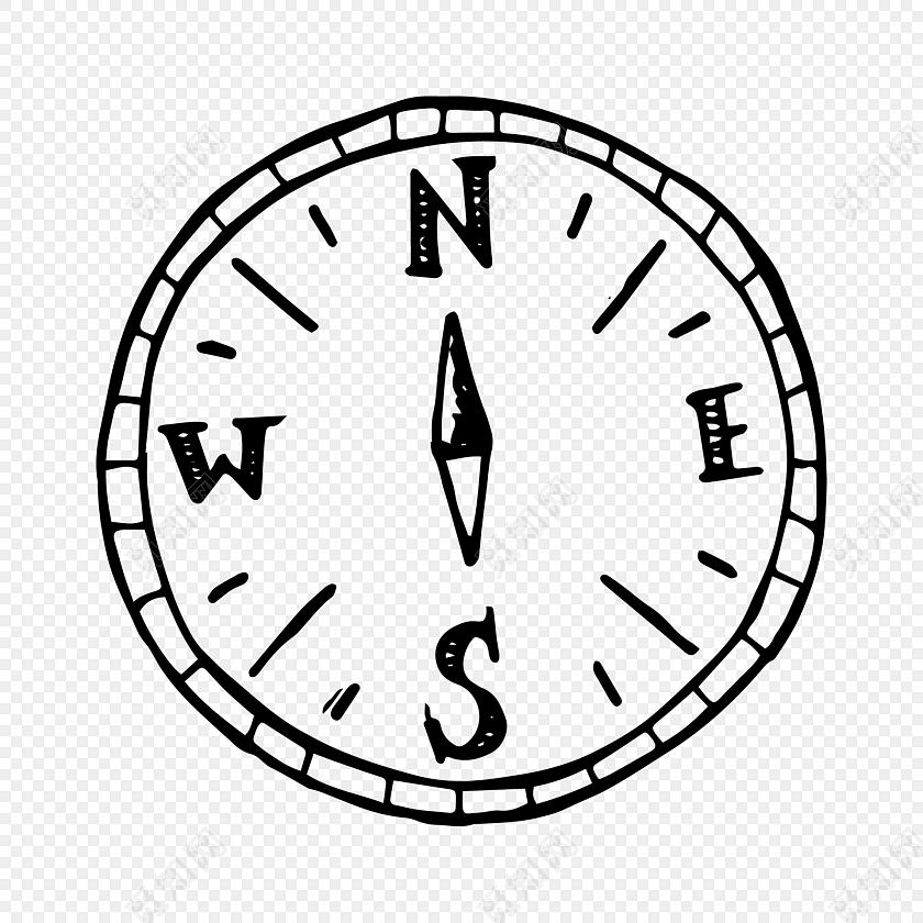 手绘黑色涂鸦指南针素材