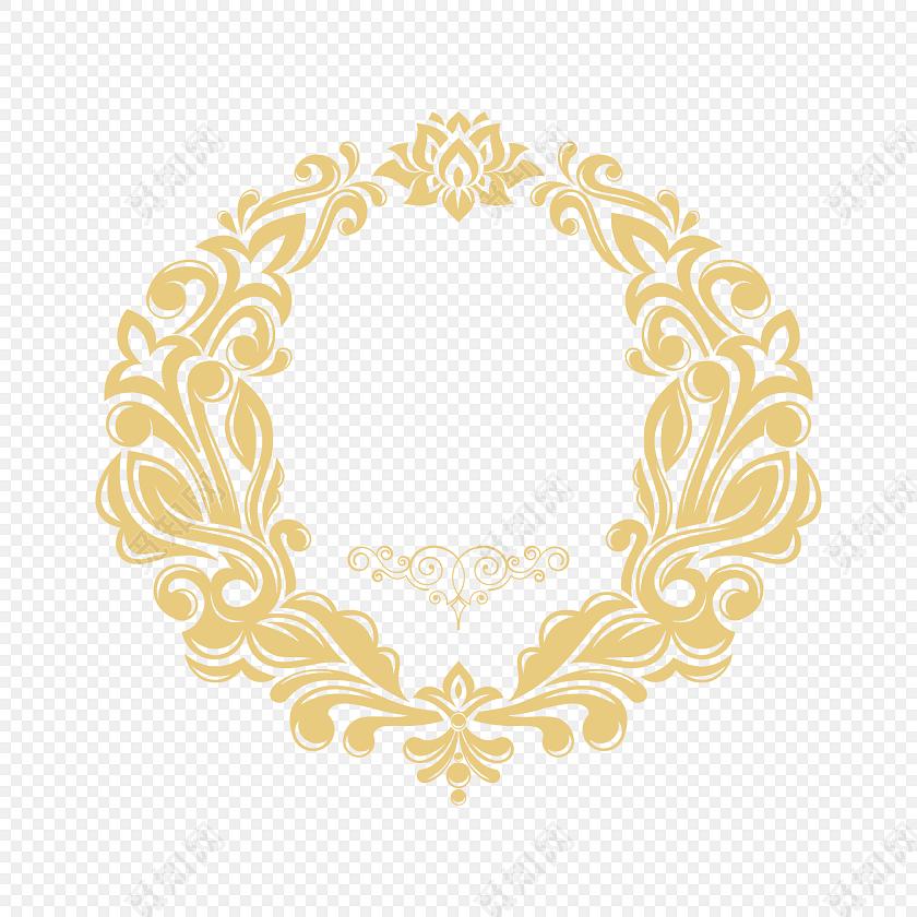 金色欧式花纹边框矢量图