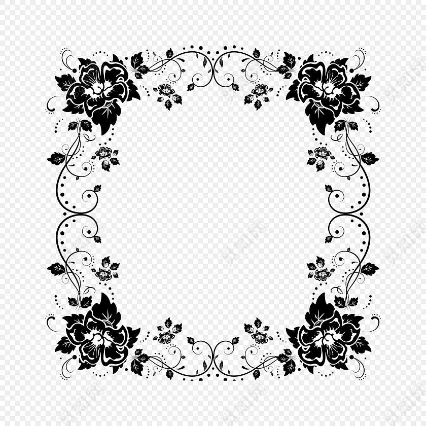 黑白剪影花藤藤蔓花边边框