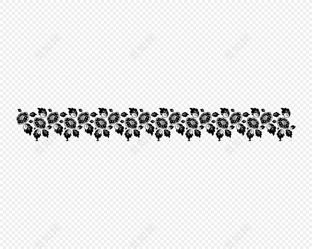 黑白剪影清新花藤藤蔓花边边框
