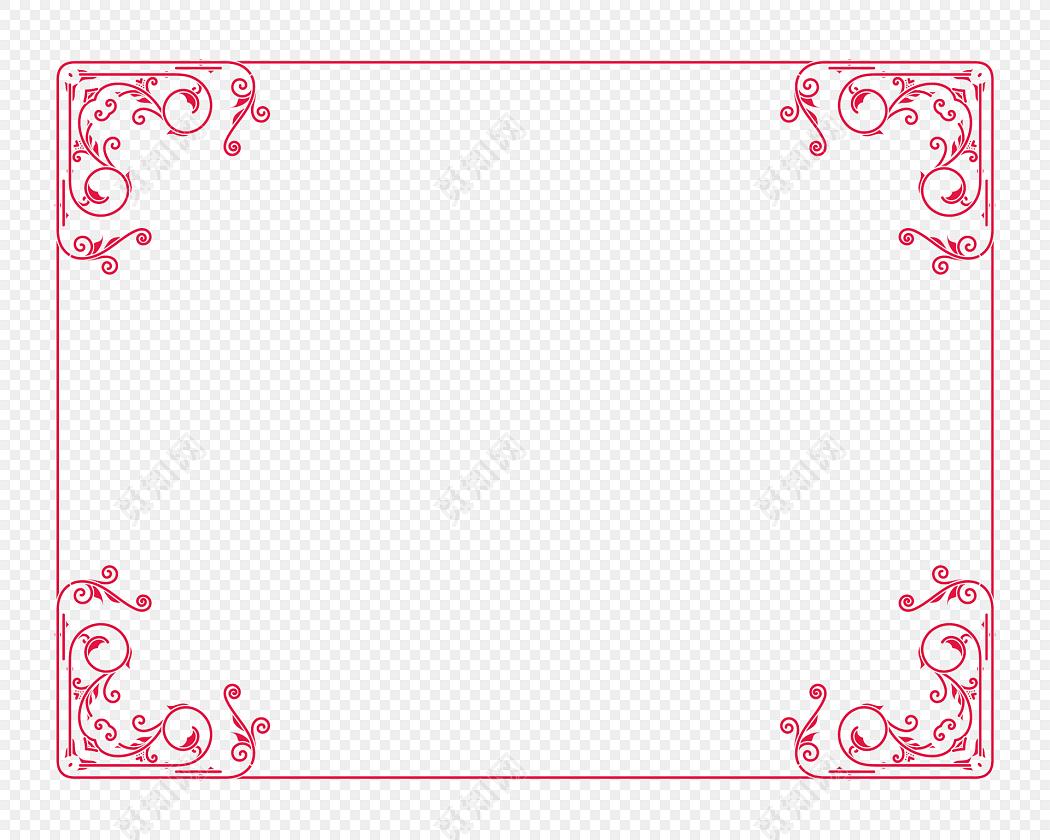 红色古典花纹边框素材