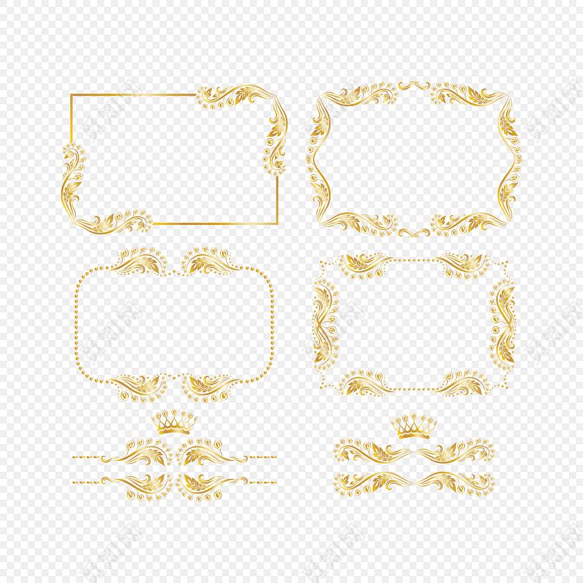 欧式花纹边框金色大气欧式宫廷花藤藤蔓花边边框