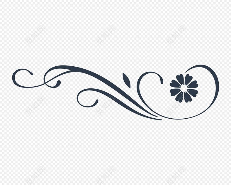 下载eps png素材 创意简约黑白剪影清新花藤藤蔓花边标签: 花边边框