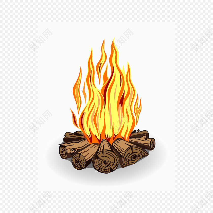 卡通木头篝火矢量图