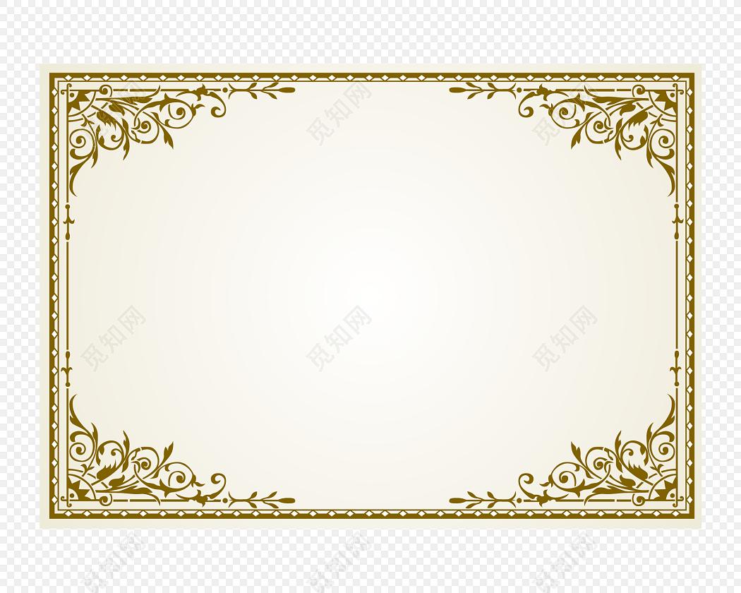 欧式金色花边花纹边框免费下载_png素材_觅知网