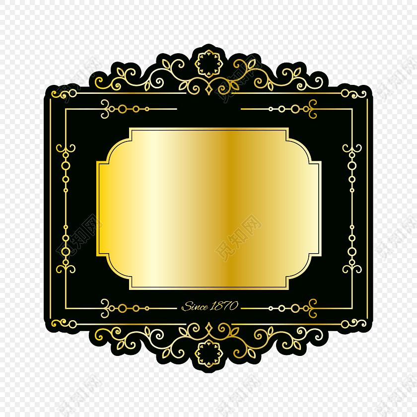金色多边形线条标签标题框素材