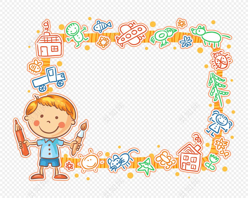 卡通儿童涂鸦图框教师节边框图片素材免费下载_觅知网
