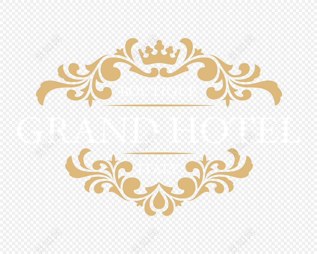 黄色皇冠装饰花纹标题栏